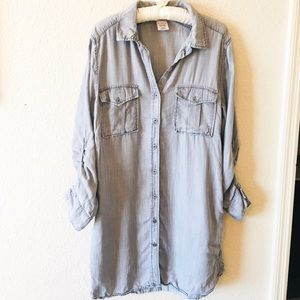 Philosophy Shirt Dress Button Down Roll Up Sleeves